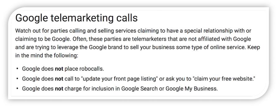 google telemarketing